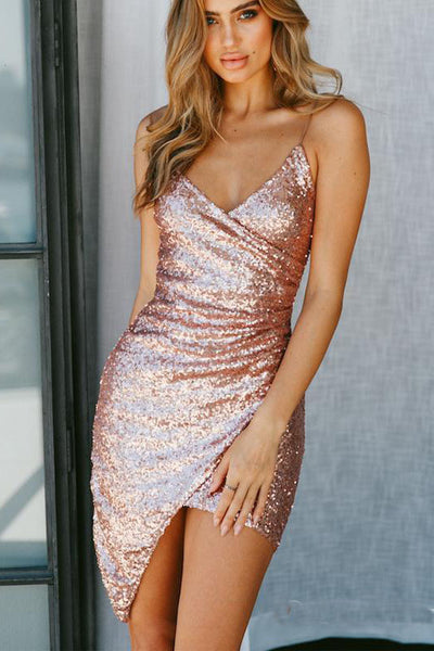 Sexy V Neck Spaghetti Straps Sequins Mini Party Homecoming Dresses OKO46