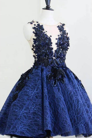 Royal Blue Lace Sheer Neck Short Prom Dresses, Charming Homecoming Dress OKO5