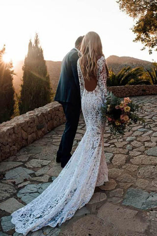 047647fd09 Long Sleeve Lace V Neck Backless Mermaid Boho Wedding Dresses,Beach Wedding  Gown OKH77