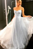 Sparkly Spaghetti Straps A Line Tulle Sequins Long Prom Dress OKW87