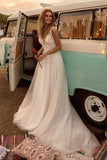Boho V Neck A Line Lace Appliques Beach vintage Bridal Gowns Custom Bohemian Wedding Dress OKV65