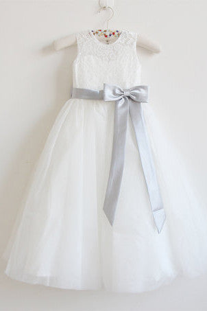 Light Ivory Lace Tulle Sleeveless Long Flower Girl Dress With Silver Sash/Bowss OK214