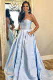 Light Sky BLue Prom Dresses With Pocket Strapless A-line Long Formal Party Dress OKV94