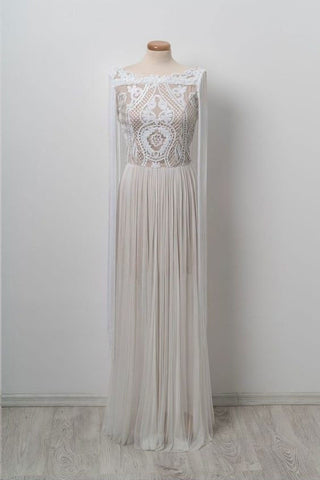 Unique Bateau Floor-length Chic Long Off White Prom Dress OKG40