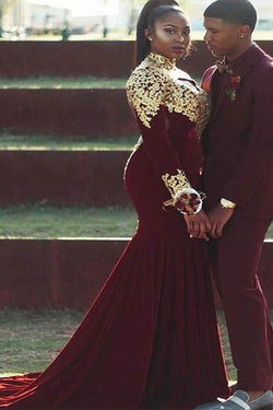 Trumpet/Mermaid High Neck Long Sleeves Applique Burgundy Plus Size Prom Dresses OKF40