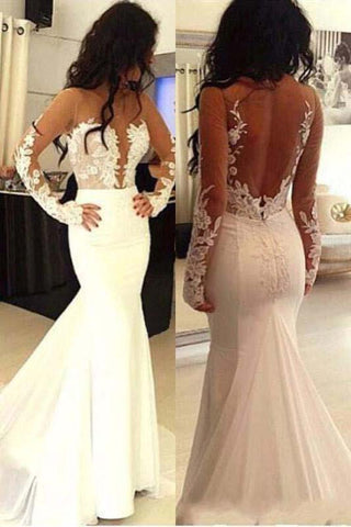Beautiful Long Sleeves See Through Mermaid Lace Appliques Wedding Dresses With Trailing OKD53
