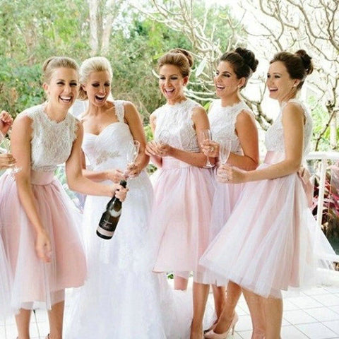 A-Line Light Pink Tulle Knee Length Bridesmaid Dress with Lace OKG64