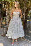 A Line Sweetheart Boning Fitted Bodice Tea Length Prom Party Gowns With Pockets OKW85