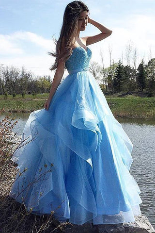 Sweetheart Prom Dresses,Blue Prom Dress,Prom Dresses,Tulle Evening Dress,Mermaid Evening Dress,Puffy Evening Dresses