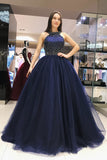 Elegant Prom Dresses,Royal Blue Prom Gown,Ball Gown Prom Dress,Beading Prom Dress