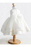 White Ball Gown Jewel Sleeveless Bowknot Long Satin Flower Girl Dresses OK700