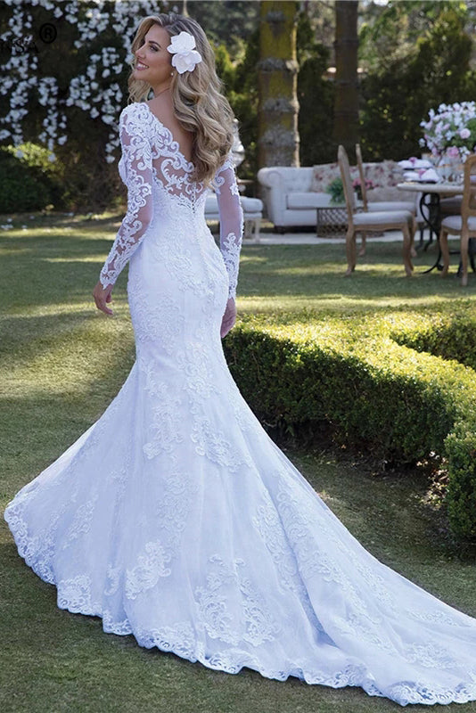 Long Sleeve Wedding Dresses Mermaid Bride Dress Plus Size Lace Appliques OKV10