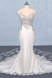 Mermaid Spaghetti Straps Beading Wedding Dress, Elegant Appliques Bridal Dresses OKQ15