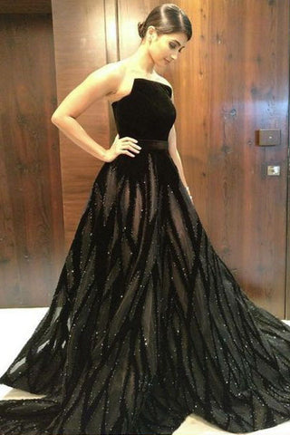 Unique A Line Black Strapless Long Prom Dresses With Beading OKF50