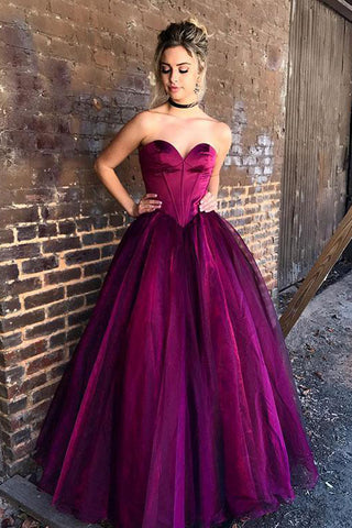 a819179c264 Ball Gown Sweetheart Purple Tulle Long Prom Dress