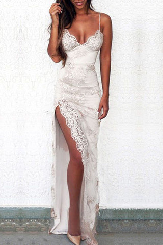 Sexy Prom Dresses,Spaghetti Straps Prom Dress,White Prom Gown,Split Front Evening Dress,Lace Prom Dress,Sheath Evening Dress