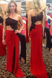 Black Lace One Shoulder Red Sexy Prom Dress,Long Party Dresses OKE54