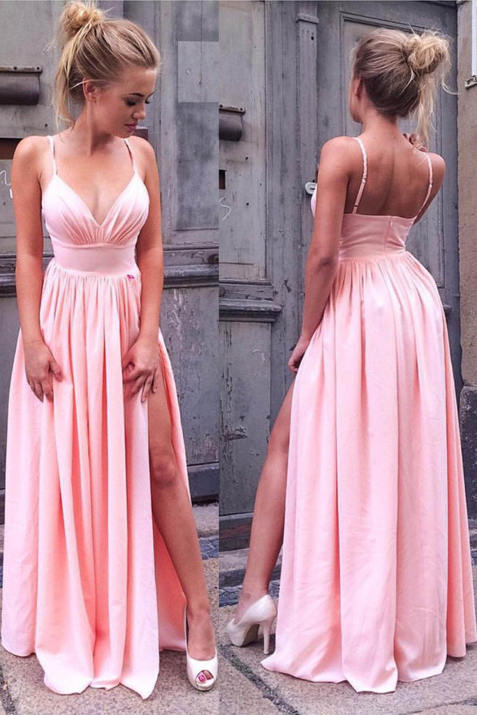 Simple Prom Dress,Spaghetti Straps Prom Dresses,V Neck Evening Gown,Pink Prom Dresses,A Line Prom Gown,Prom Dress with Slit