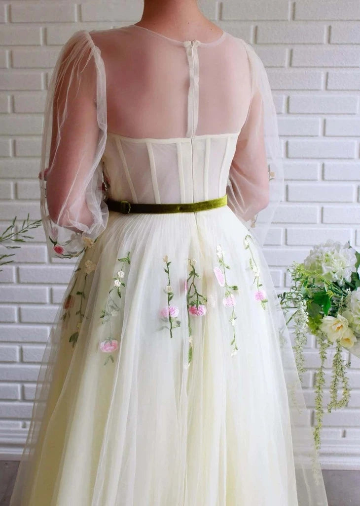A-line Long Sleeves Tulle Long Prom Dress With Embroidery OKT99