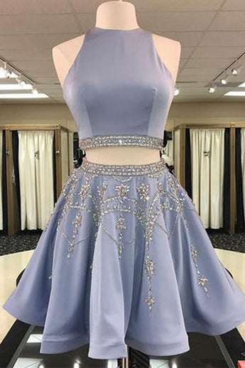 Stylish Homecoming Dress,Two Piece Homecoming Dresses,A-Line Homecoming Dress,Jewel Sleeveless Prom Dresses,Short Homecoming Dress With Beading