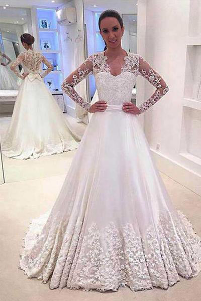 White Wedding Dresses,A Line Wedding Dress,V Neck Wedding Gown,Long Sleeves Wedding Dresses,Appliques Wedding Gown