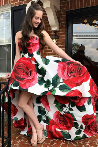 Unique Strapless Floral Satin High low Long Prom Dresses with Pockets, OKM68