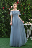 A Line CHiffon Blue Off the Shoulder Prom Dress, Long Ruffles Bridesmaid Dresses OKQ79