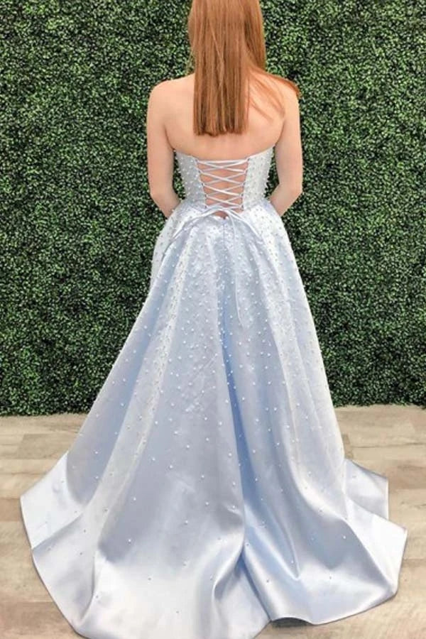 A Line Strapless Light Sky Blue Satin Prom/Formal Dress With Pearls OKU8