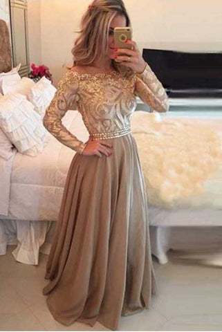 Unique A-Line Chiffon Gold Long Sleeves Formal Prom Dresses/Evening Dresses OK185