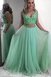Gorgeous Two Piece V Neck Mint Tulle Long Prom Dresses with Beading OKU19