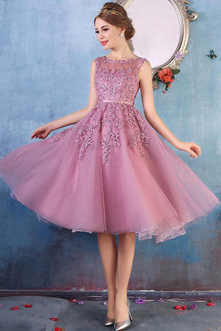 Elegant Lace Appliques Beaded A-line See Through Tea Length Homecoming Dresses OKC10
