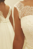 Simple Ivory A Line Backless Chiffon Long Wedding Dress With Lace Top OK527