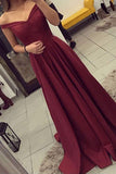 Simple Burgundy Off The Shoulder Long Prom Dresses/Evening Gown OK133