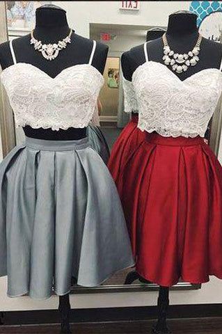 Sexy Two Piece Gray Burgundy Short Homecoming Dresses With Lace Top OKO77
