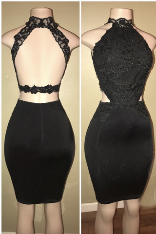Black Lace Short Prom Dress, Tight Sexy Homecoming Dresses OKD79