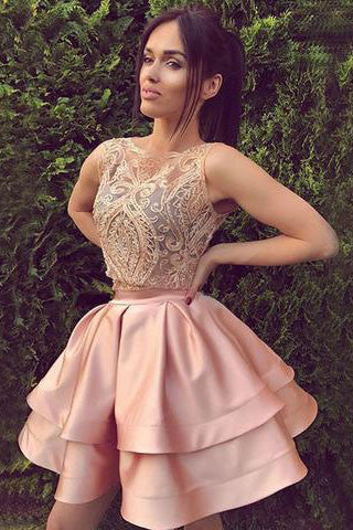 Cute round neck lace short a line pink homecoming dresses, sweet 16 dress OK225