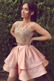 Cute homecoming dresses,round neck homecoming dress,lace homecoming dresses,short prom dress, pink homecoming dresses OK225