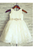 Lace Flower Girl Dress,Beading Flower Girl Dresses,Ivory Flower Girl Dress