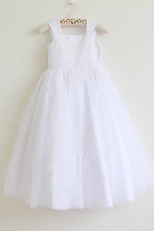 5626d30deecbe White Tulle Straps Long Simple Baby Girl Dress Flower Girl Dresses –  Okdresses