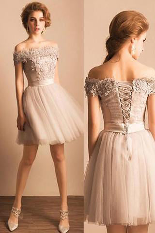 e2576f9a1eb 2018 Off-the-shoulder Lace Tulle Short Beaded Homecoming Prom Dresses –  Okdresses