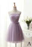 Elegant Homecoming Dresses,Strapless Homecoming Dresses,A-Line Homecoming Dresses,Purple Prom Dresses,Tulle Homecoming Dresses,Girls Party Dresses,Short Prom Dresses