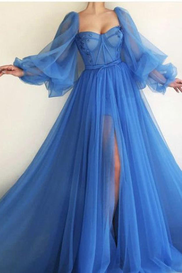 Long Lantern Sleeve Tulle A Line Sky Blue Prom Dress With Slit OKV82