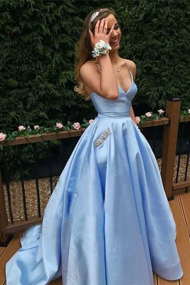 Sky Blue Cross Back Prom Dresses Long Elegant V-neck Evening Dress Woman Party Night Gowns OKW32