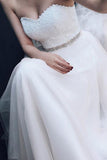 Sweetheart Strapless A-line Lace Tulle Beading Wedding Dresses With Court Train OK559