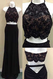 Two piece evening dress, blackprom dress, long prom dress, Sexy evening dresses, Beading prom dress, Lace prom gown, chiffon evening dresses, 2 pieces prom dress