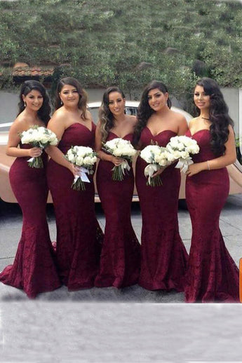 Elegant Bridesmaid Dresses,Sweetheart Bridesmaid Dress.Burgundy Bridesmaid Dresses,Lace Bridesmaid Dress,Mermaid Bridesmaid Gown,Long Bridesmaid Dresses,Cheap Bridesmaid Dresses