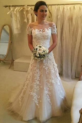 Gorgeous Tulle Wedding Dresses Lace Applique A-Line Bridal Dress Short Sleeve OKW27