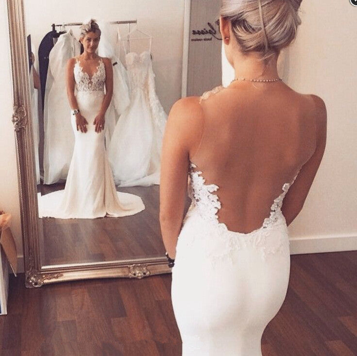 Sexy Mermaid Lace Sheer Back Long Ivory Beach/Coast Wedding Dress OK268