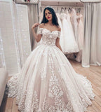 Ivory Applique Lace Off Shoulder Corset Bridal Gown New Ball Gown Wedding Dress OKU73