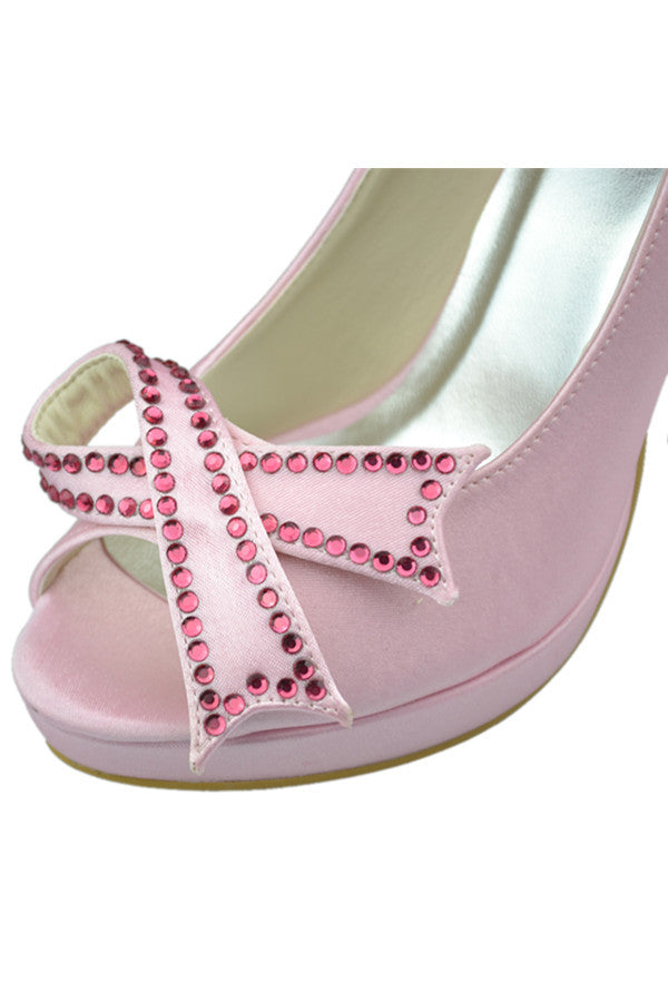 Beautiful Pink Beading High Heel Peep Toe Girly Party Shoes S100